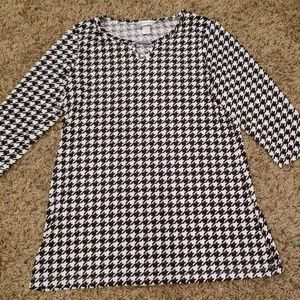 Christopher & Banks Houndstooth black and white S